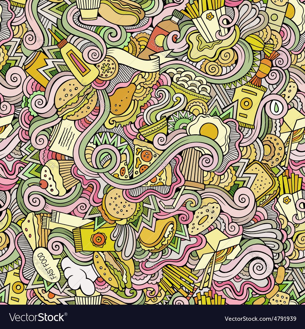 Seamless doodles abstract fast food pattern vector