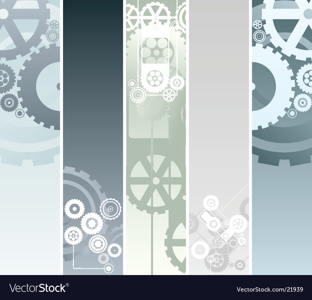 Technological and mechanical banners vector | Price: 1 Credit (USD $1)