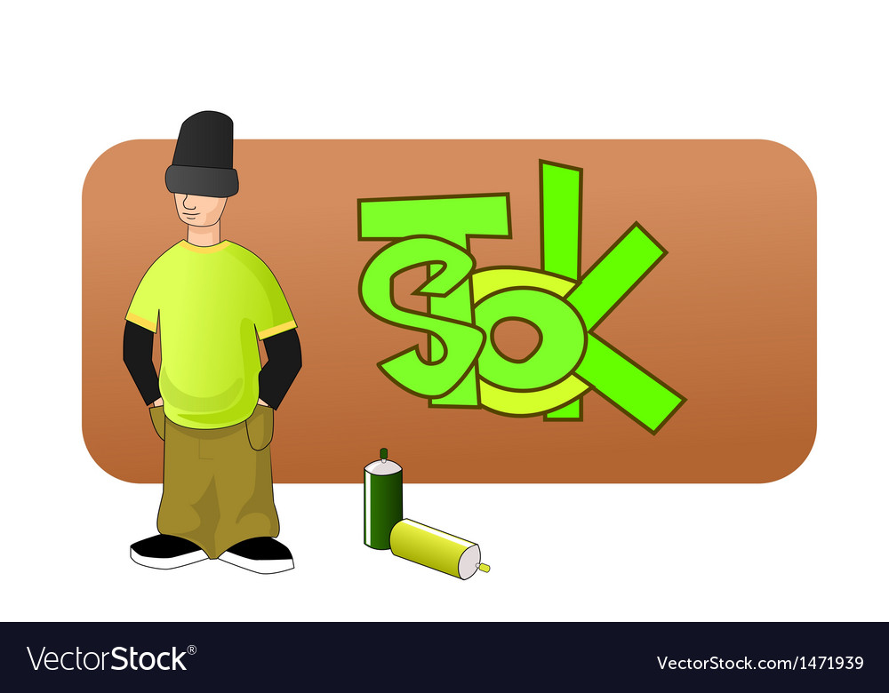 Young graffiti man vector | Price: 1 Credit (USD $1)