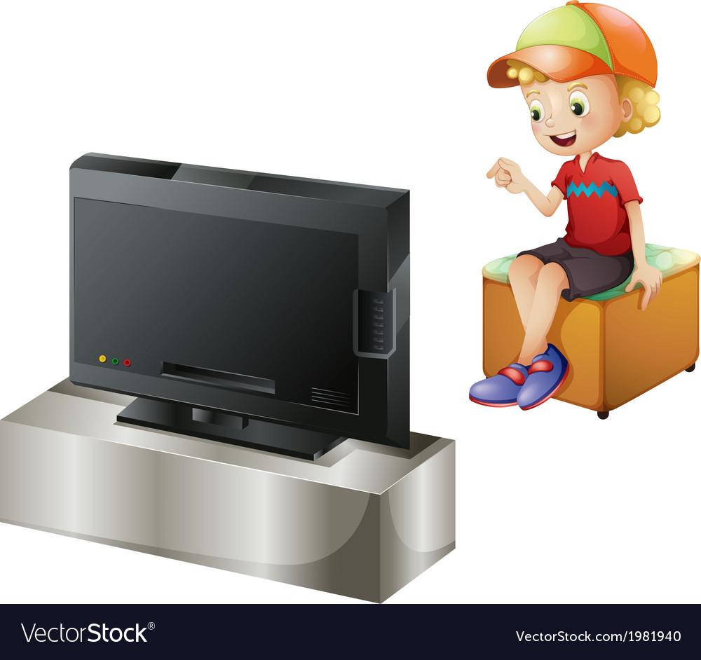 A happy kid watching tv vector   Price: 1 Credit (USD $1)