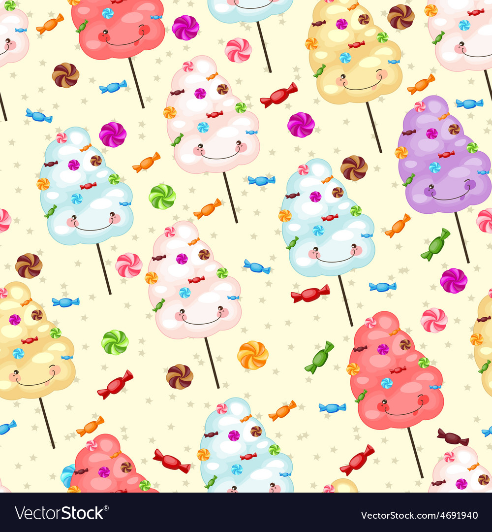 Childrens seamless pattern from cotton candy vector | Price: 1 Credit (USD $1)