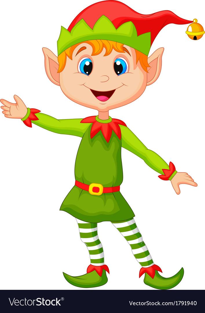 Cute christmas elf cartoon presenting vector | Price: 1 Credit (USD $1)