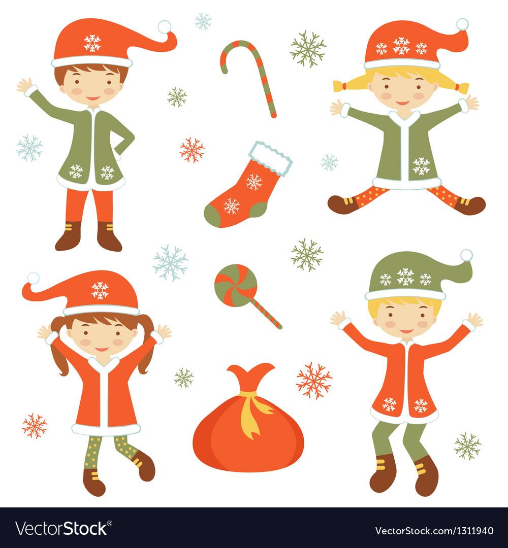 Cute santa helpers vector | Price: 1 Credit (USD $1)