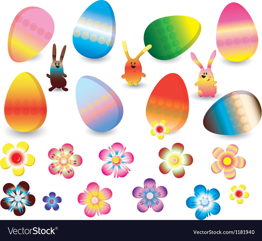 Easter set of colorful rabbits eggs and flowers vector | Price: 1 Credit (USD $1)