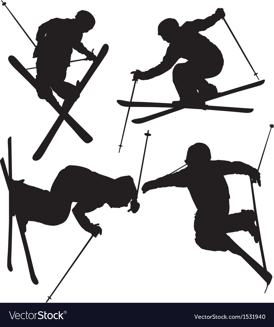 Freestyle skier silhouette vector | Price: 1 Credit (USD $1)