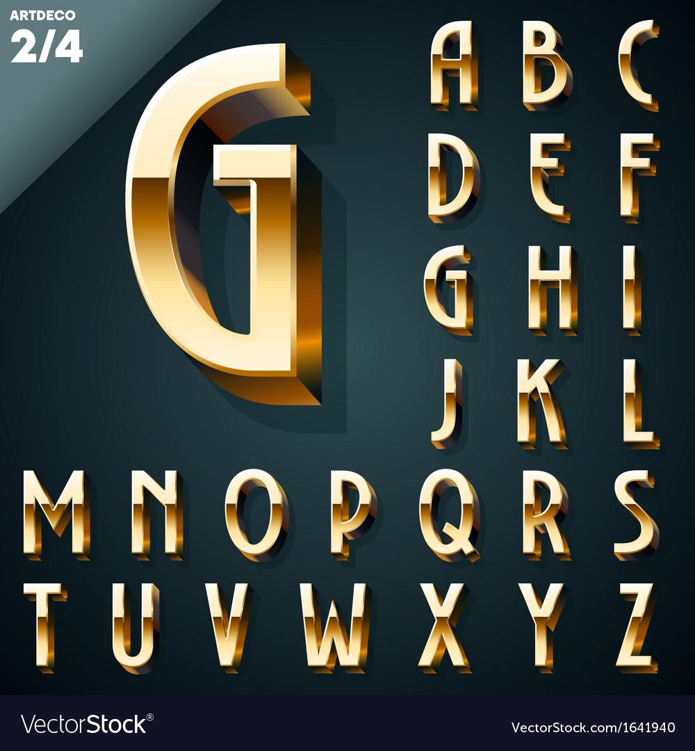 Set of golden 3d alphabet vector | Price: 1 Credit (USD $1)