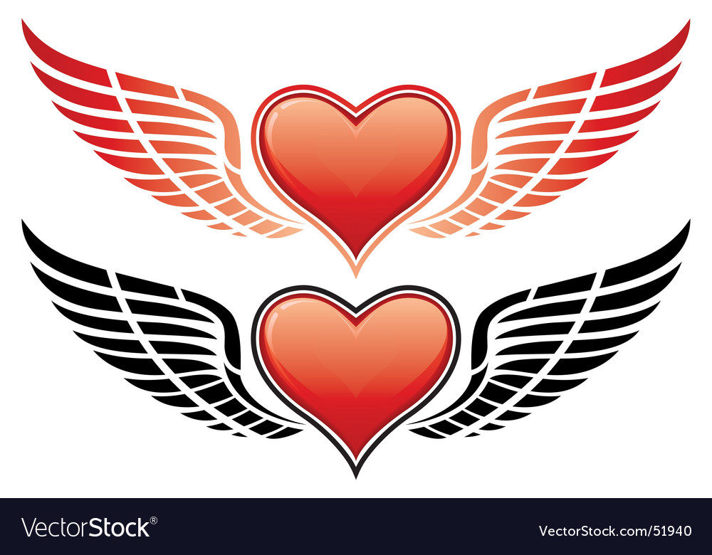 Valentine heart wings vector | Price: 1 Credit (USD $1)