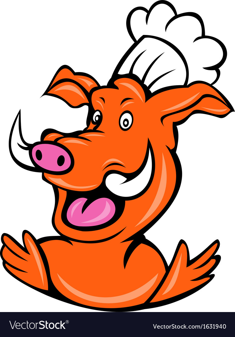 Wild pig boar hog chef cook baker arms up vector | Price: 1 Credit (USD $1)