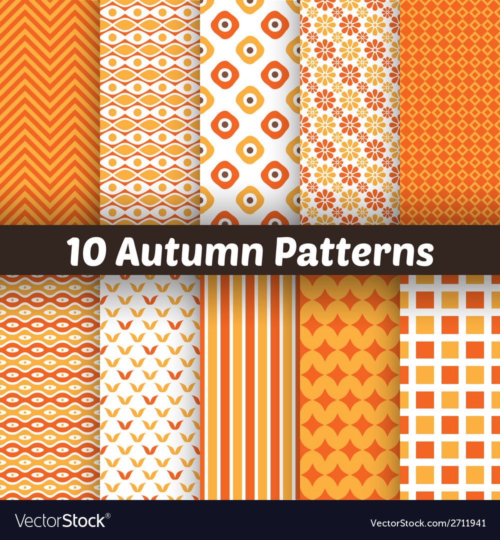 10 autumn seamless patterns endless texture for vector | Price: 1 Credit (USD $1)