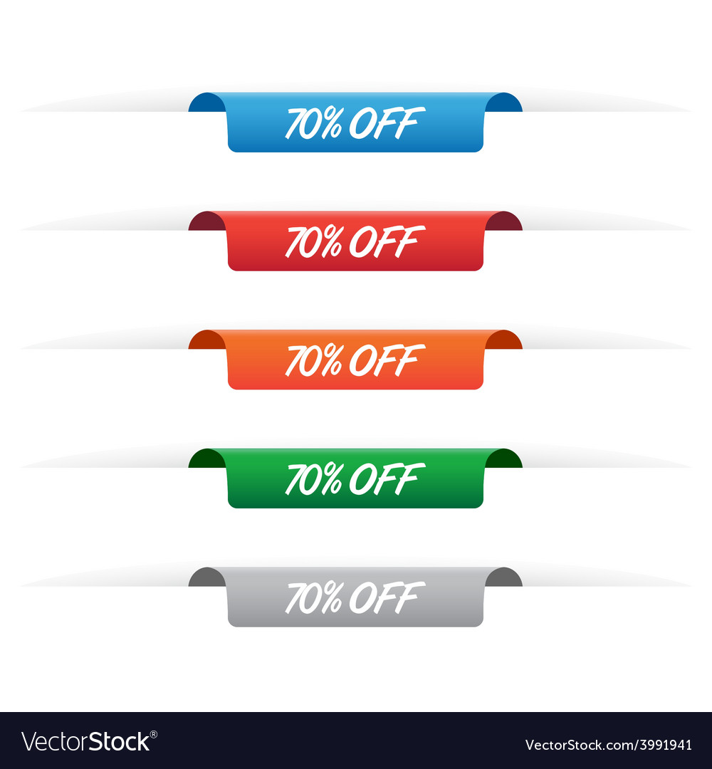 70 percent off paper tag labels vector | Price: 1 Credit (USD $1)