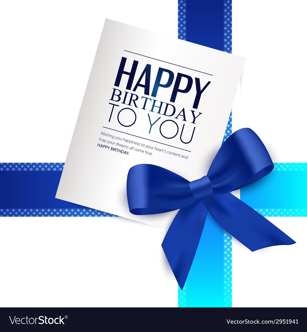 Birthday card with blue ribbon and birthday text vector | Price: 1 Credit (USD $1)