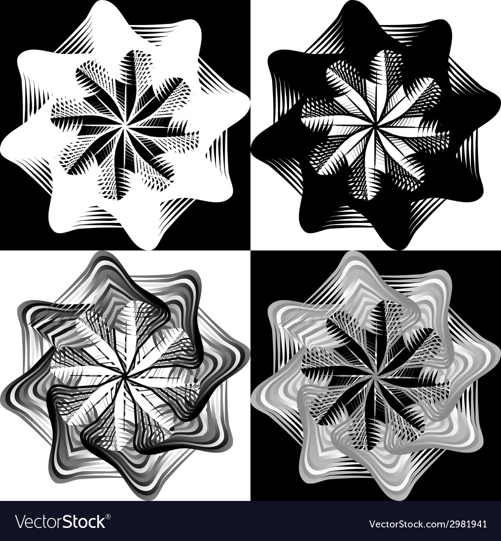 Black and white pattern lace flower snowflake vector | Price: 1 Credit (USD $1)