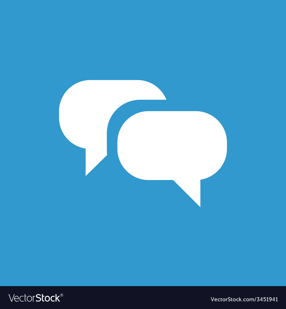 Conversation icon white on the blue background vector | Price: 1 Credit (USD $1)