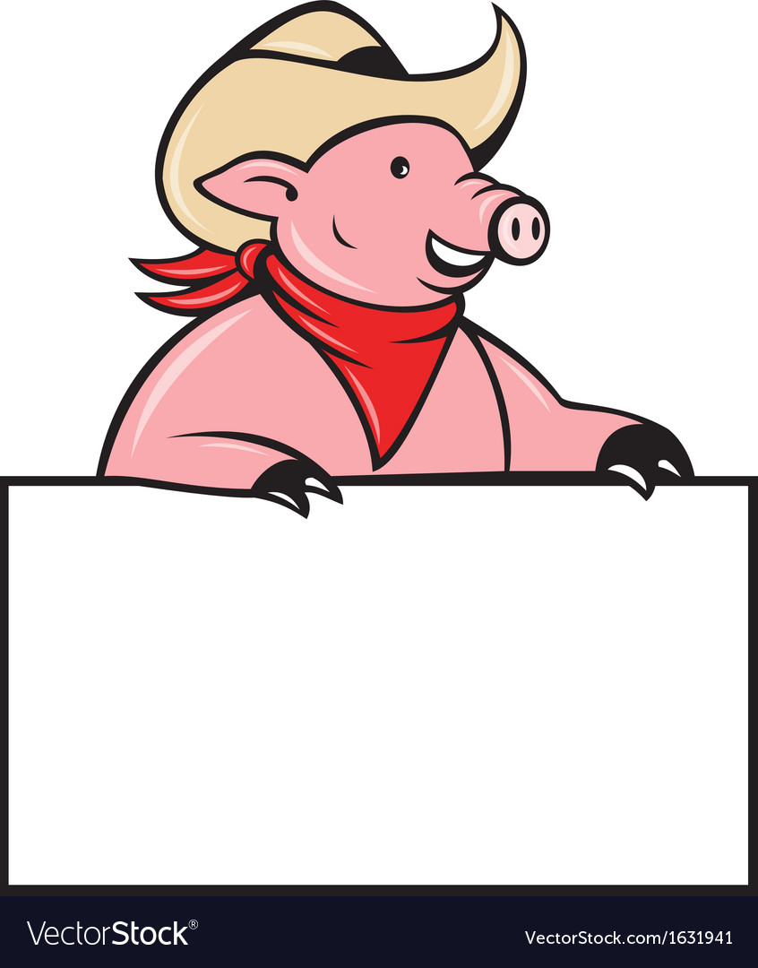 Cowboy pig hog holding blank sign vector | Price: 1 Credit (USD $1)