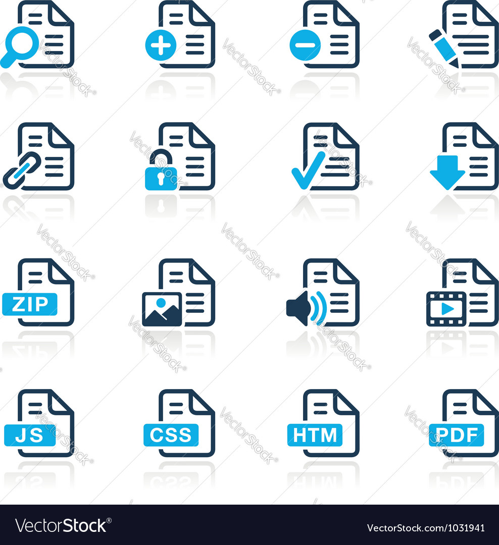 Documents icons 1 azure series vector | Price: 1 Credit (USD $1)