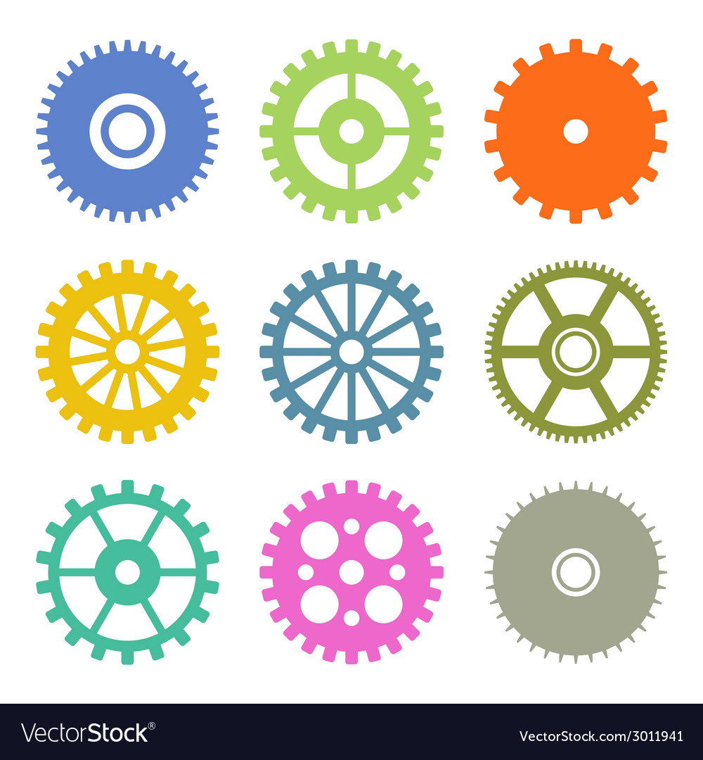 Gear icons set in flat design colors vector | Price: 1 Credit (USD $1)