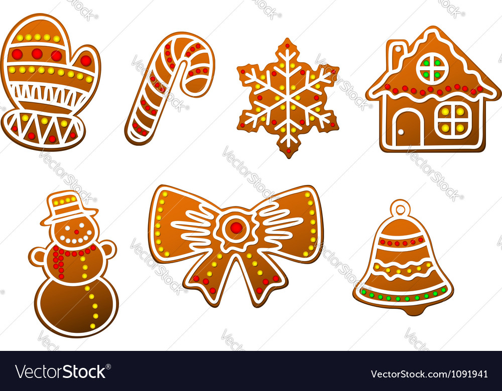 Gingerbread cookies set vector | Price: 1 Credit (USD $1)
