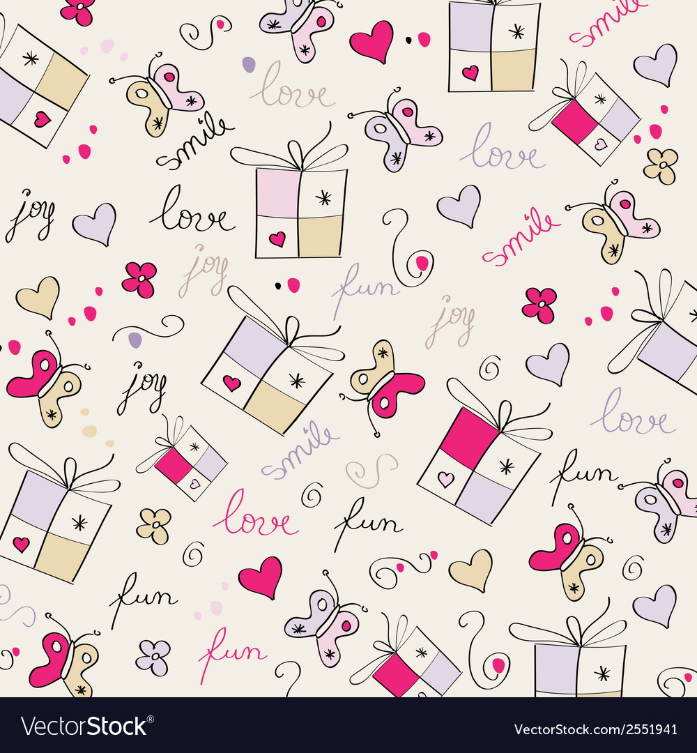 Hand draw texture - seamless pattern with hearts vector | Price: 1 Credit (USD $1)