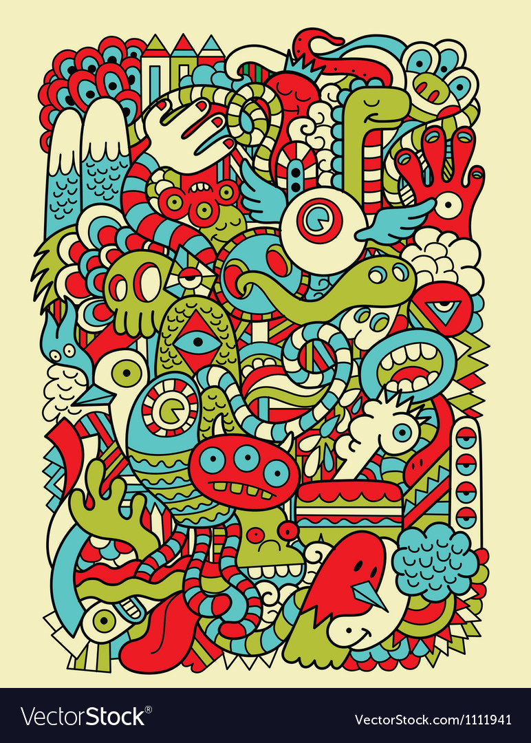 Hipster doodle monster collage background vector | Price: 3 Credit (USD $3)