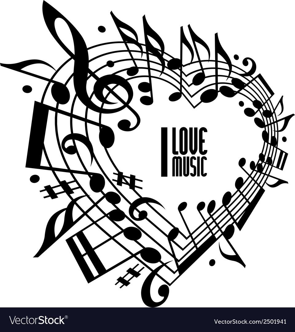 I love music concept black and white design vector | Price: 1 Credit (USD $1)