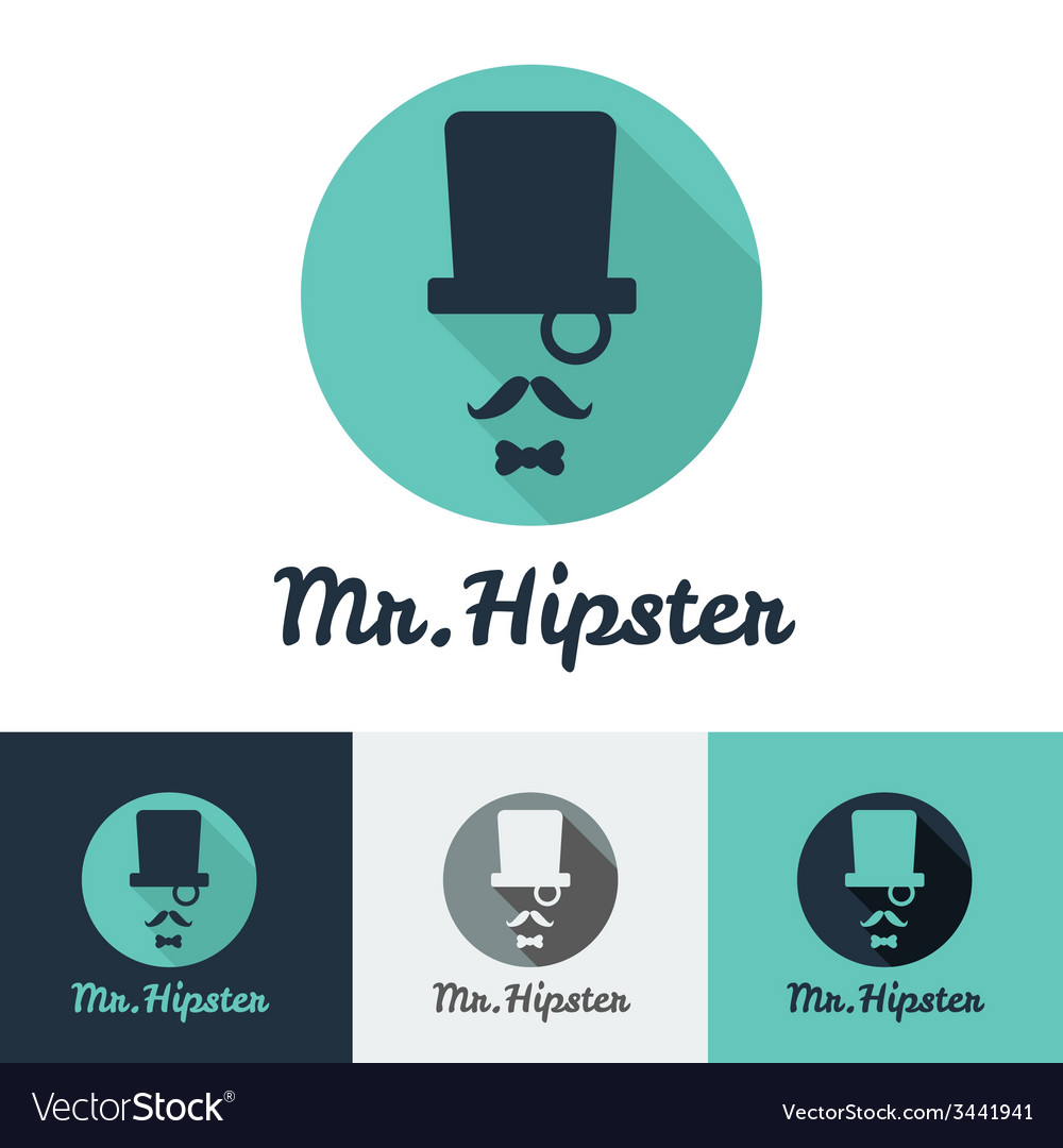 Modern flat hipster face logo set for clothes shop vector | Price: 1 Credit (USD $1)