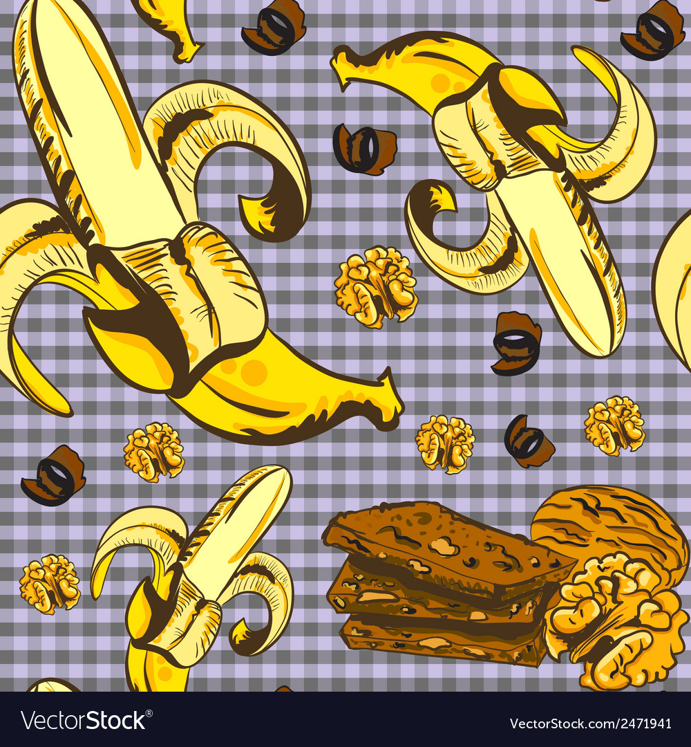 Seamless pattern with bananas and chocolate vector | Price: 1 Credit (USD $1)