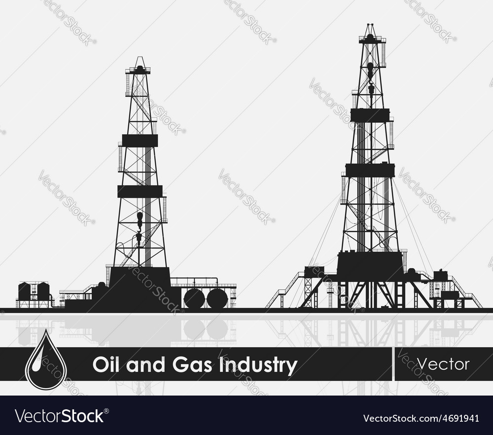 Set of oil rigs silhouettes vector | Price: 1 Credit (USD $1)