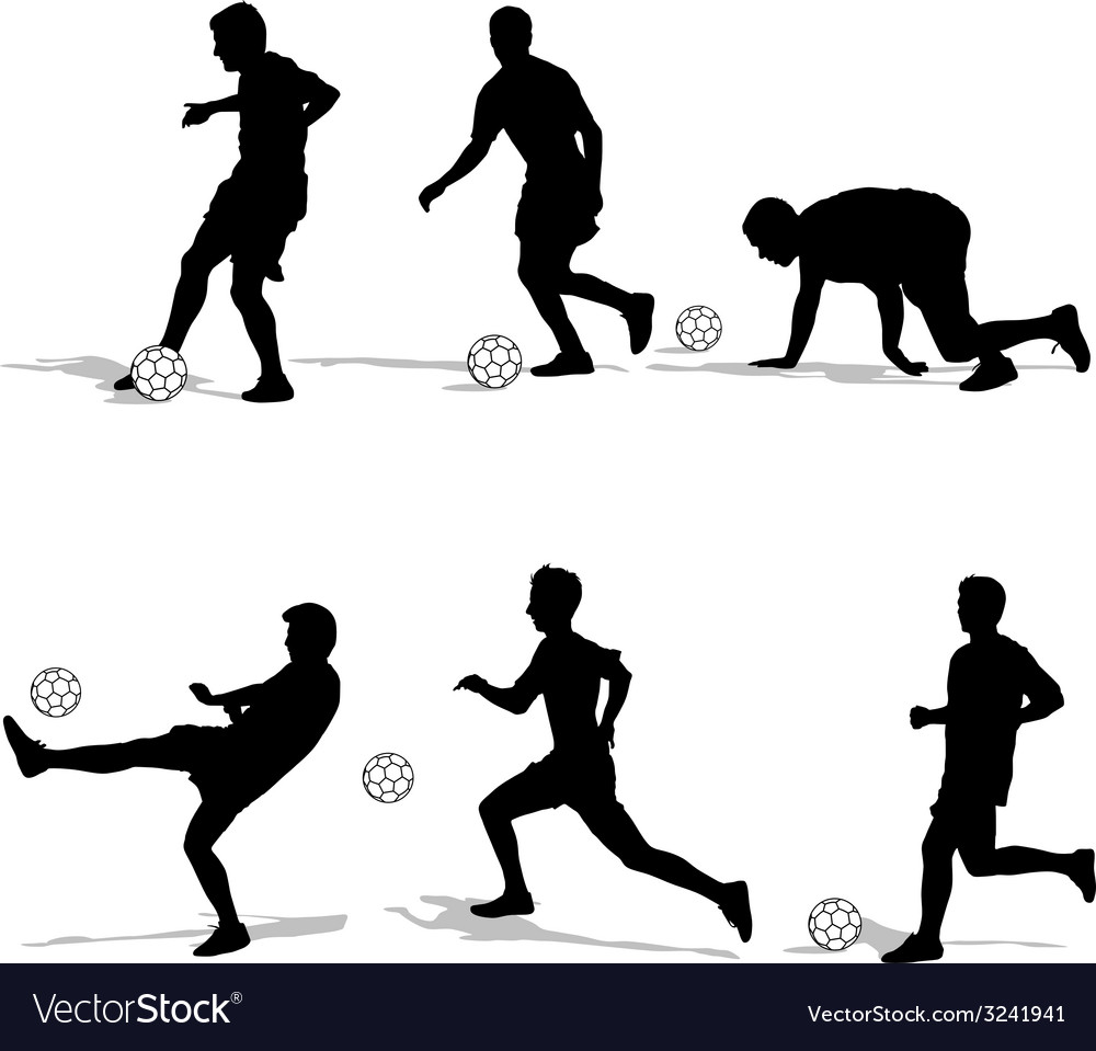 Set silhouettes of soccer players with the ball vector | Price: 1 Credit (USD $1)