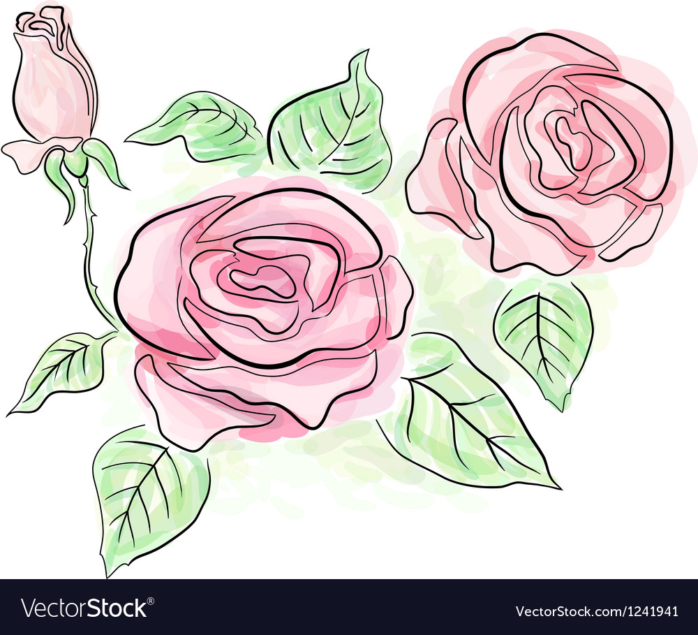 Sketch of roses in light delicate colors vector | Price: 3 Credit (USD $3)