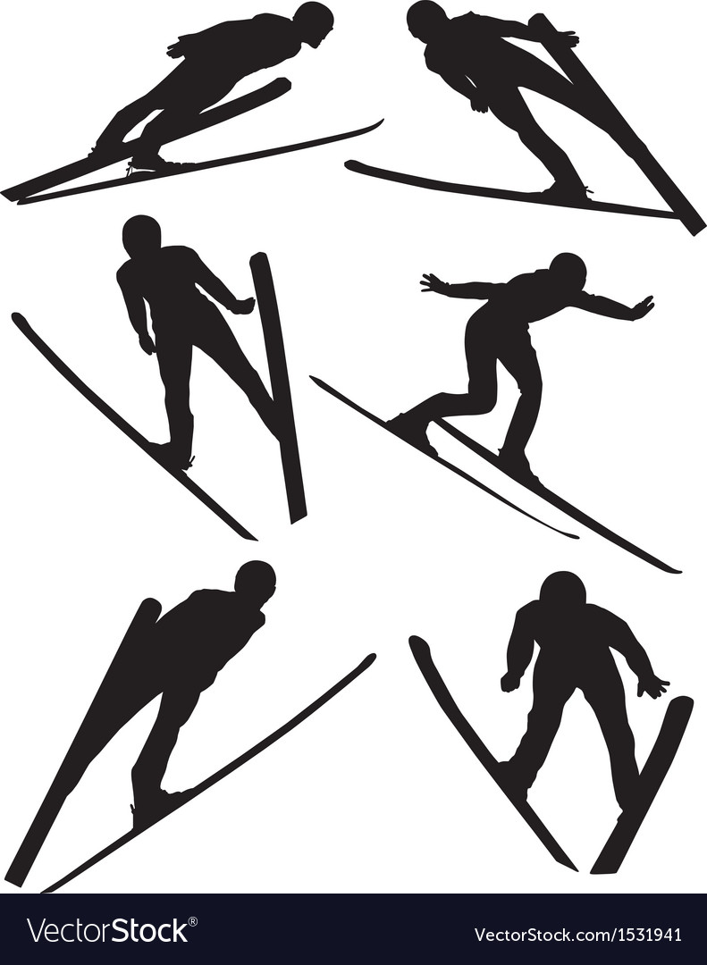 Ski jumping silhouette vector | Price: 1 Credit (USD $1)