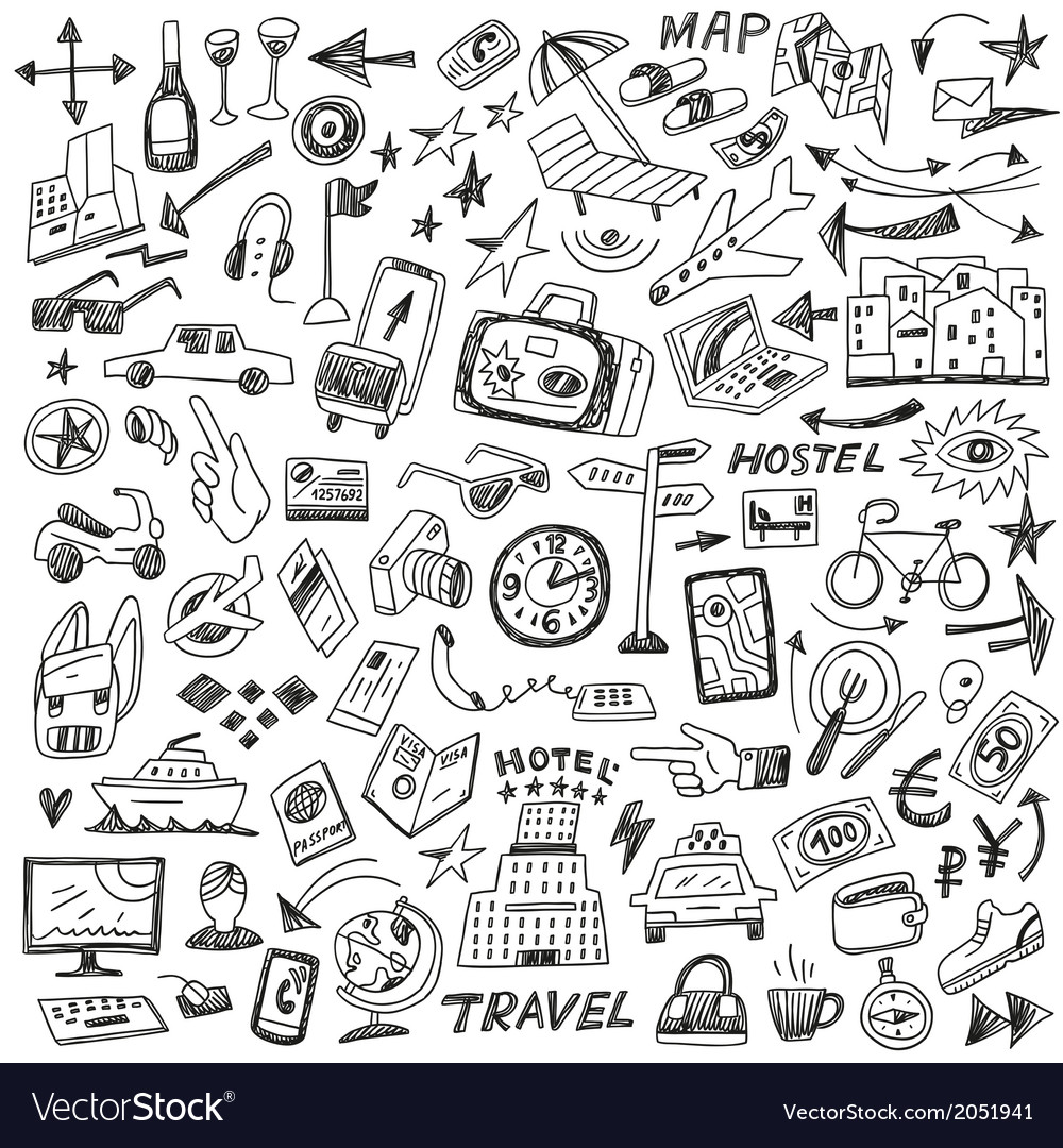 Travel - big doodles set vector | Price: 1 Credit (USD $1)