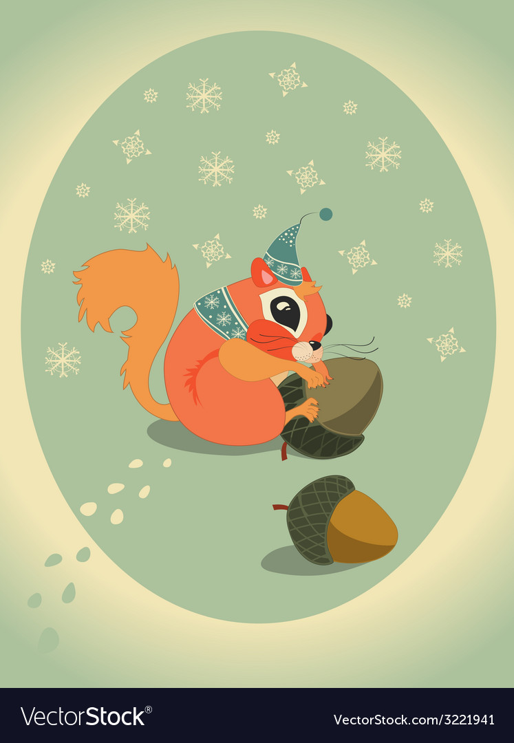 Winter squirrel on snow with acorn vector | Price: 1 Credit (USD $1)