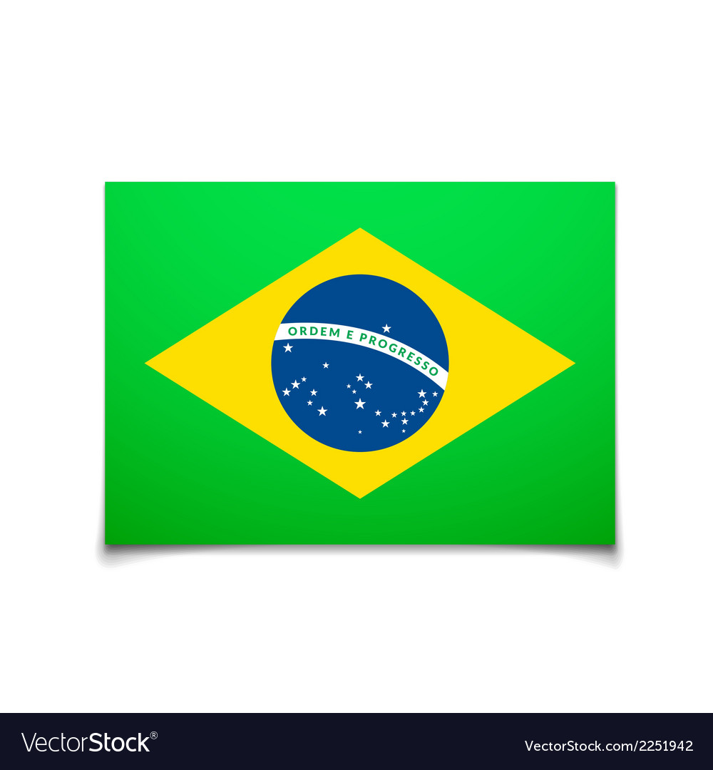 Brazil flag isolated on white vector | Price: 1 Credit (USD $1)