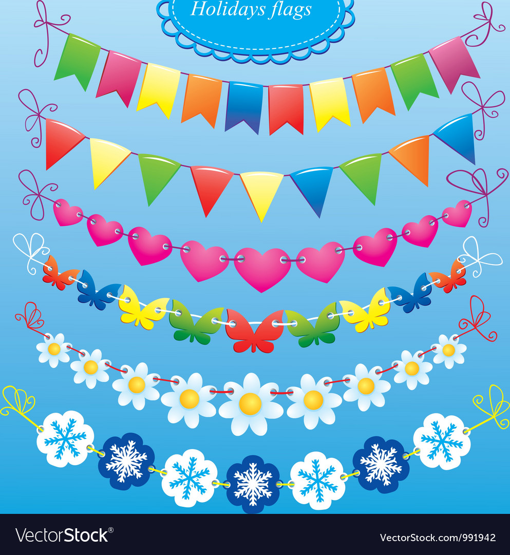 Bunting and garland set vector | Price: 3 Credit (USD $3)
