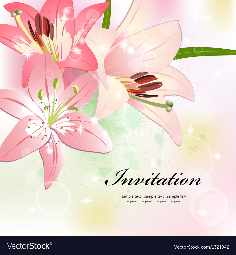 Flower invitation card vector | Price: 1 Credit (USD $1)