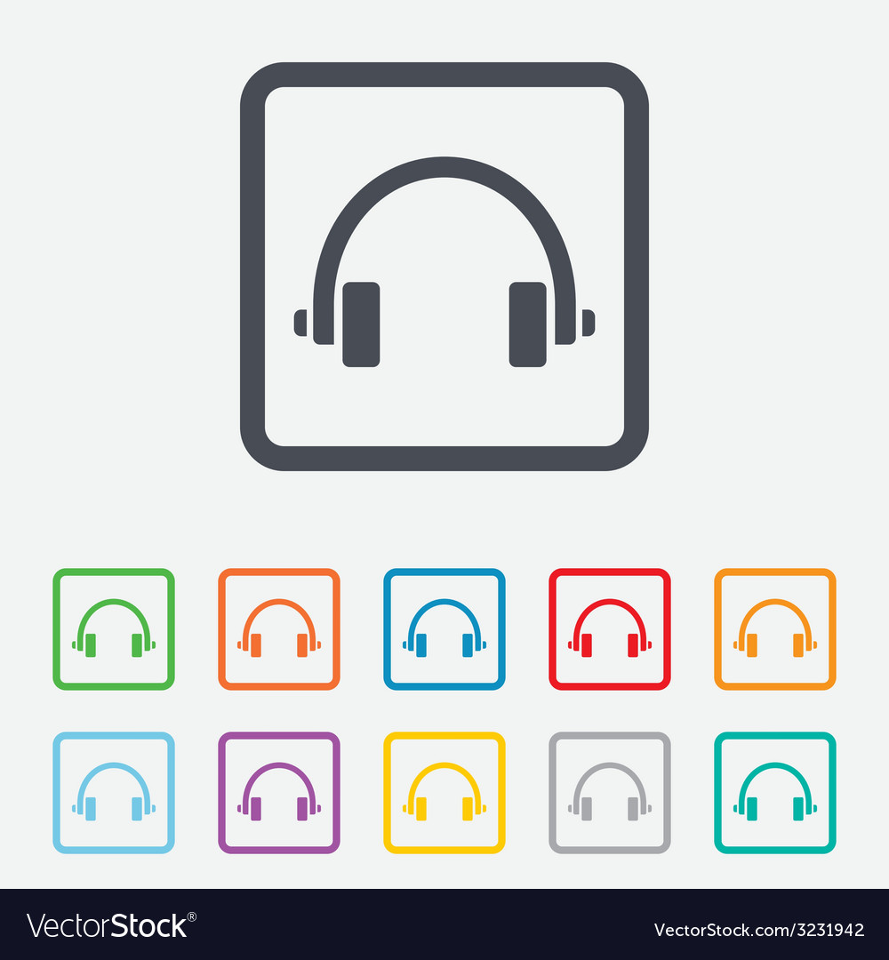 Headphones sign icon earphones button vector | Price: 1 Credit (USD $1)