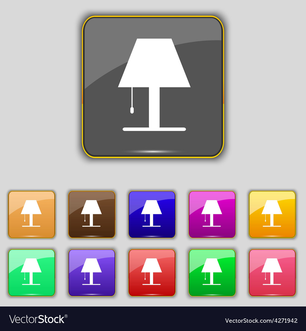Lamp icon sign set with eleven colored buttons for vector | Price: 1 Credit (USD $1)