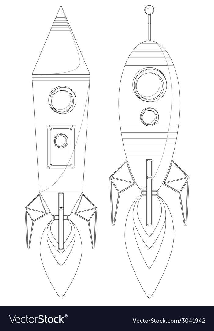 Rockets with porthole and flames from the engine vector | Price: 1 Credit (USD $1)