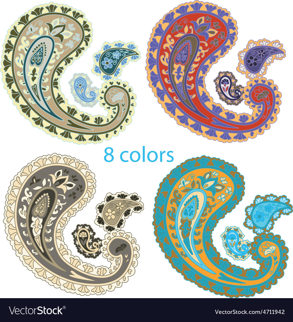 Traditional ornamental set paisley design vector | Price: 1 Credit (USD $1)