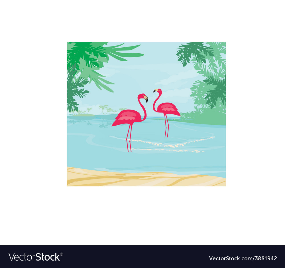 With green palms and pink flamingo vector   Price: 1 Credit (USD $1)