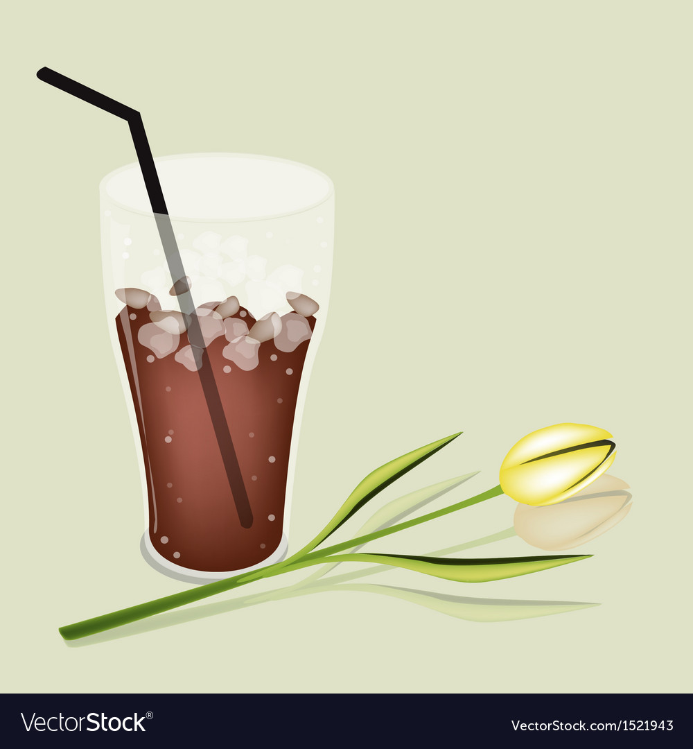 A delicious iced coffee and white daisy vector | Price: 1 Credit (USD $1)