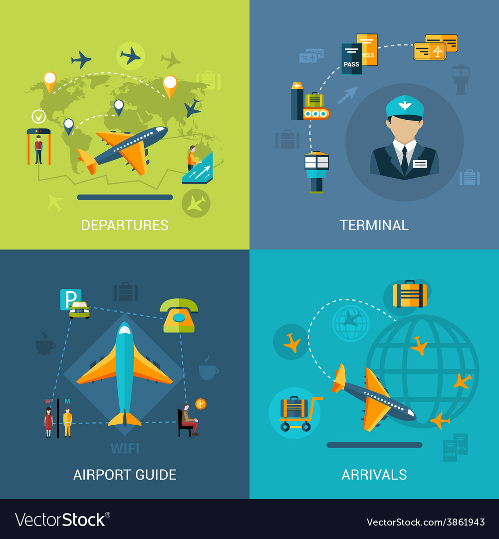 Airport flat set vector | Price: 1 Credit (USD $1)
