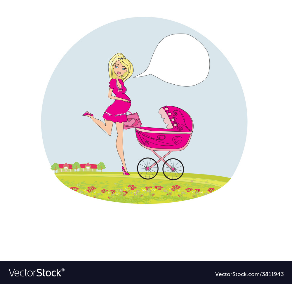 Beautiful pregnant woman pushing a stroller vector   Price: 1 Credit (USD $1)