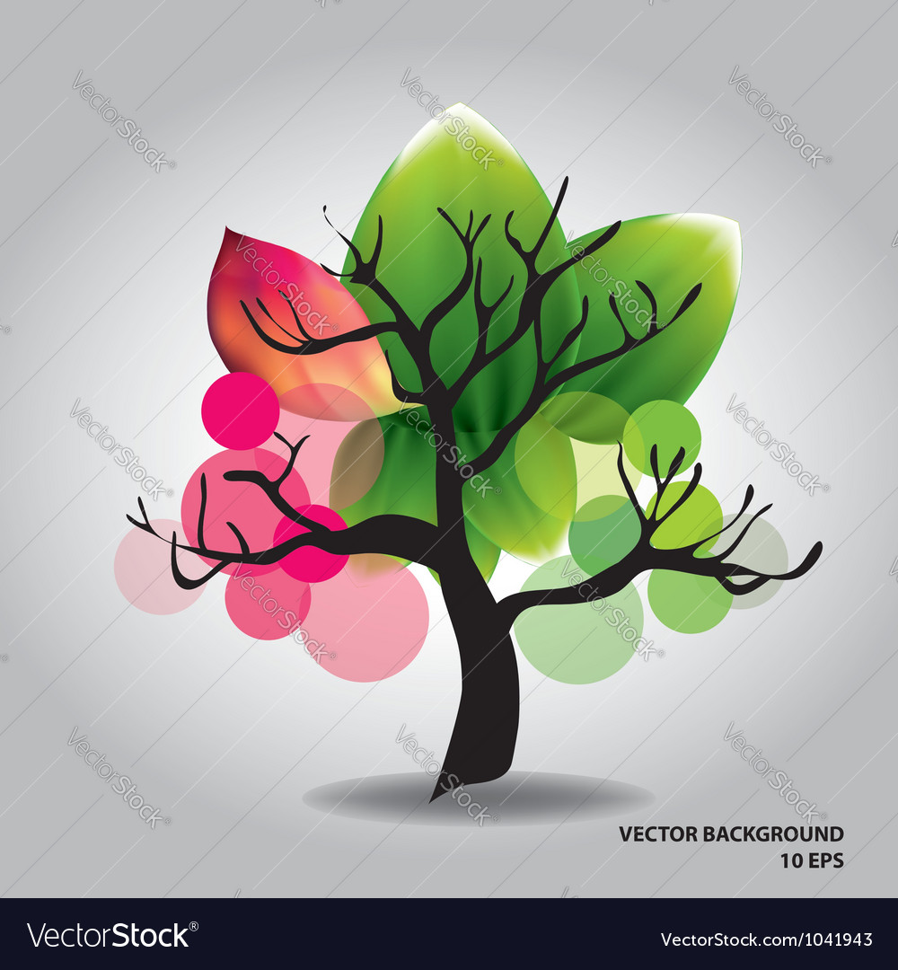 Beautiful tree with flowers vector | Price: 1 Credit (USD $1)