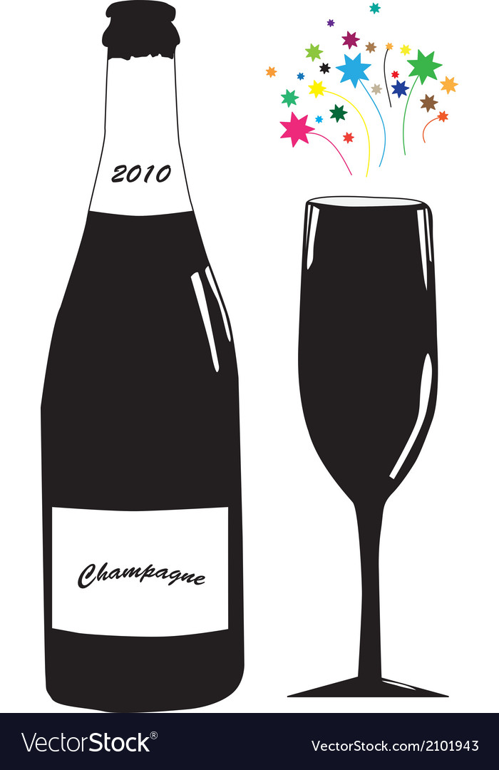 Champagne with glass vector | Price: 1 Credit (USD $1)