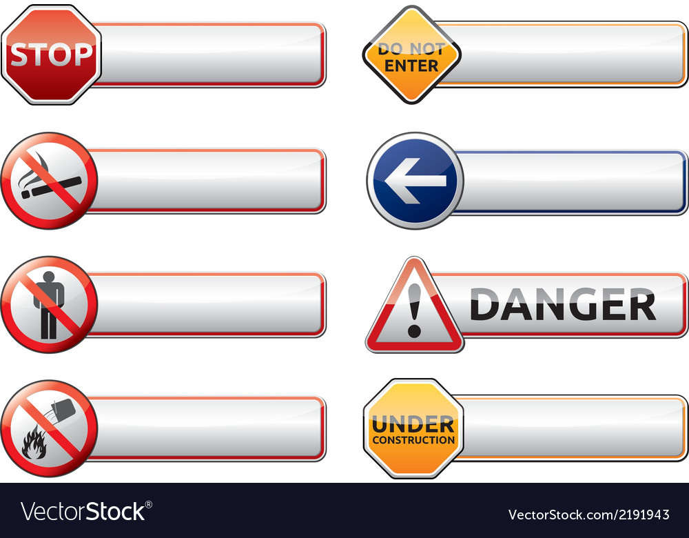Danger prohibition sign banner collection vector | Price: 1 Credit (USD $1)