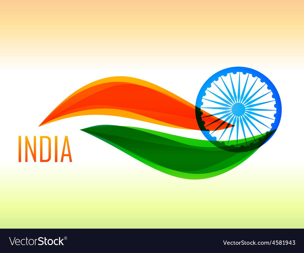Indian flag design made in wave style vector | Price: 1 Credit (USD $1)