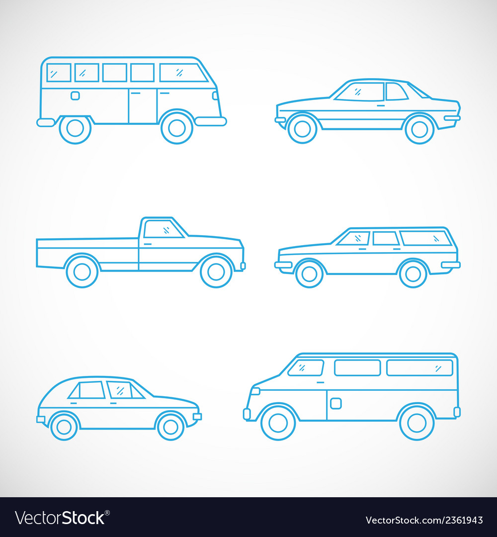 Line style cars set vector | Price: 1 Credit (USD $1)