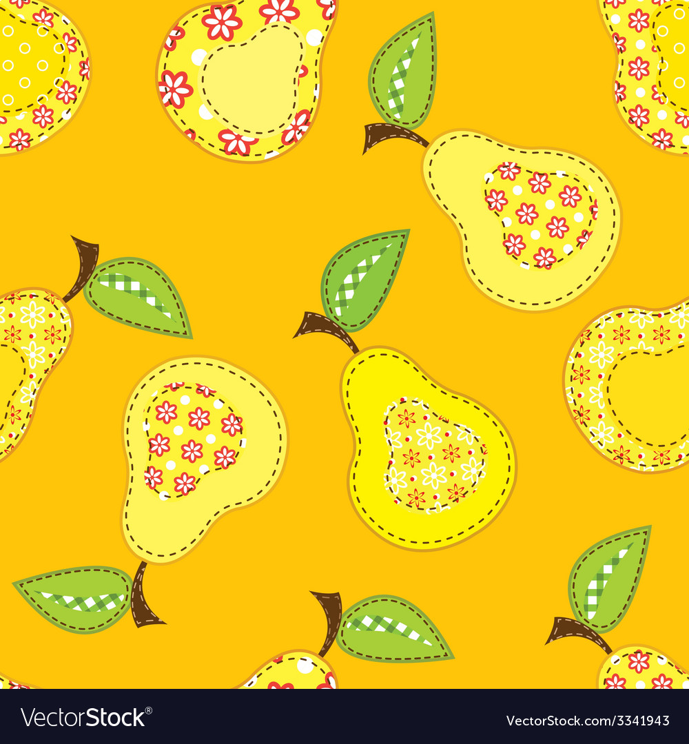 Patchwork seamless pattern with stylized pears vector | Price: 1 Credit (USD $1)