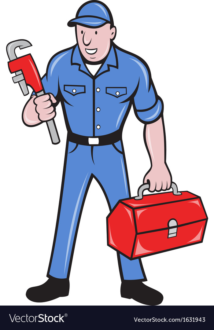 Plumber repairman holding monkey wrench vector | Price: 1 Credit (USD $1)